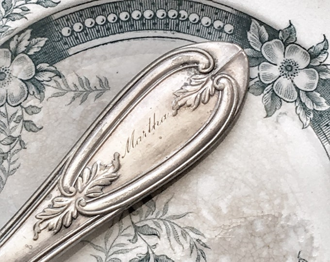 Engraved Silver Butter Knife Martha Antique Souvenir