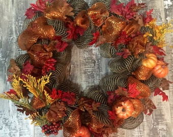 Fall wreath, deco mesh wreath, fall deco mesh wreath, pumpkin wreath, orange wreath, brown wreath, leaf wreath