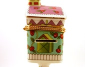 Porcelain Stamp Dispenser Pedestal House Birdhouse Floral Stamp Holder