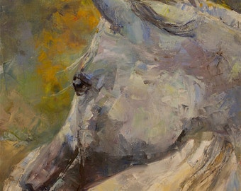 White Horse Painting, Appaloosa Horse, Dappled grey horse, Fall art, Palette knife Painting, Equine Art, large art, Abstract Horse