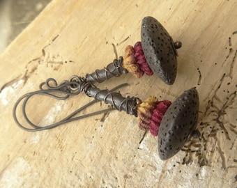 Black Lava Eucalypthus Seed Copper Earrings
