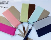 Lovely Two tone Choose your colors Wristlet Smartphone Cellphone Wallet iPhone 7, 6 plus Samsung Galaxy S7, S6 Card Holder