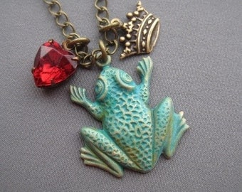 Frog Necklace - Frog Prince - Frog Jewelry - Romantic Jewelry - Fairy Tale Jewelry - Gifts for Her - Kiss the Frog - Girlfriend Gifts