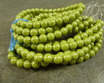 Avocado Luster Czech Glass Druk Beads 6mm 30pc Smooth Round