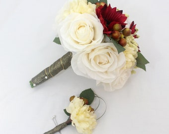 Wedding Bride's Bouquet - Burgundy Red Gerbera, White Rose, Ivory Mum Bouquet, Boutonniere, Holiday Wedding Bouquet