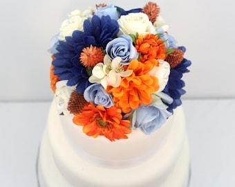 Wedding Cake Topper - Blue, Ivory Rose, Orange Mum, Daisy Silk Flower Wedding Cake Topper, Wedding Cake Flowers, Fall Wedding Cake Topper