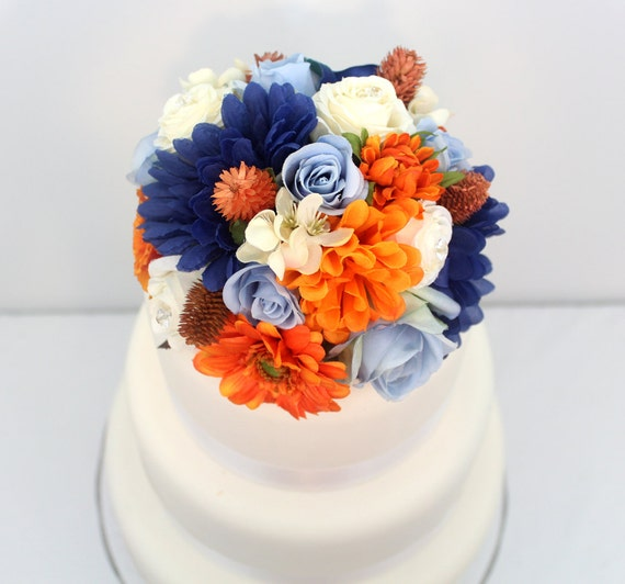 Wedding Cake Topper Blue Ivory Rose Orange Mum Daisy Silk