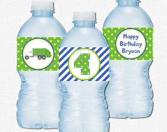 Garbage Truck Water Bottle Labels, Truck Party Decorations, Garbage Truck Birthday, Printable Bottle Wraps, Blue and Green