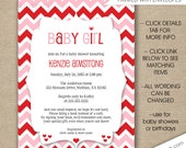 Valentine Baby Shower invitations, free shipping, Valentine's birthday party invites, personalized 3648, pink red chevron hearts