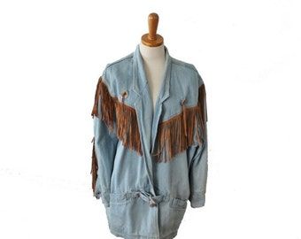 30% off sale // Vintage 80s Fringe Denim Coat // Women M L // Western Wear, ABS Leisure Collection