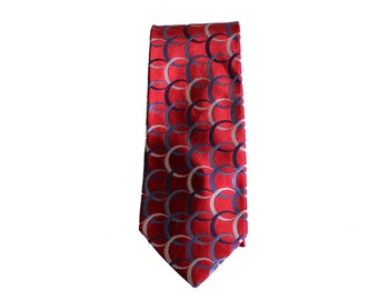 Vintage 90s Tommy Hilfiger Red Blue Silk Neck Tie // Made in America