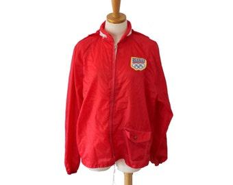 Vintage 1988 USA Olympics Windbreaker Jacket Coat  // Men M, Sears, red