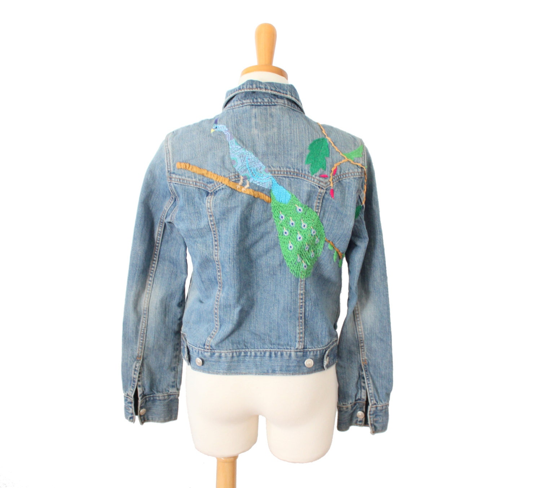 Vintage s embroidered peacock denim jean jacket women