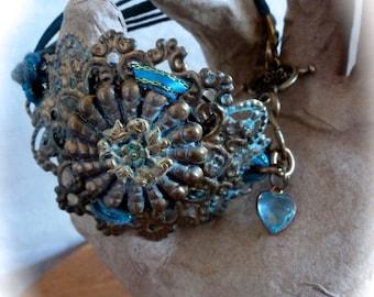 Layered Metal Filagree Bracelet in Teal and Bronze Verdigris
