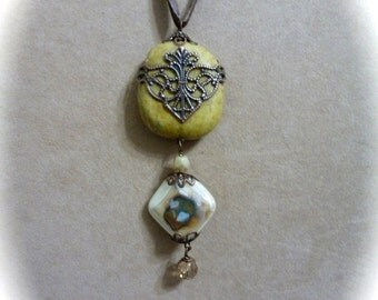 Boho Chic Assemblage Pendant Necklace with Stone and Glass Beads