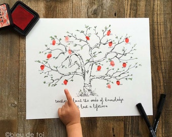 "Fingerprint tree, Teacher appreciation, Apple Tree 11""x14"" w/ 1 ink pad and pen, wedding guestbook alternative, unique guestbook, class gift"
