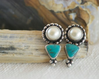 Vintage Sterling Silver Faux Pearl Turquoise Post Style Pierced Earrings  .....5088