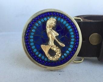 Mermaid Belt Buckle, Mosaic Belt Buckle, Belts for Women, Women's Buckle, Brass Buckle, Mermaid Gifts, Leather Belt, Custom Belt Buckle