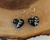 Black Heart Earrings, Lampwork Earrings, Valentines Earrings, Earrings For Her