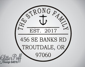 Return Address Stamp -  Round Self-Inking Nautical Address Rubber Stamp (#4516) Anchor USCG Navy Family Address Stamp-Family Established Est