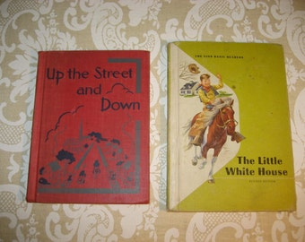 pair of mid-century children's school books, wonderful illustrations and stories