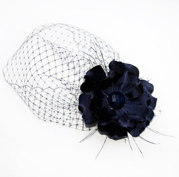 Blue Pouf Style Veil 7 Inches Net And Detachable Side Flower, Cocktail Fascinator Headpiece, Veil And Flower Set