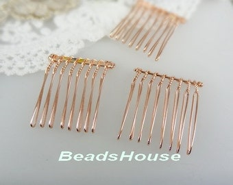 HC-01-8RG   10pcs Rose Golden  Plated Hair Comb w/ 8 Pin .NICKEL FREE