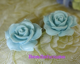 4 pcs Pretty Rose Cabochon 34mm (0657-19R) - Baby Blue