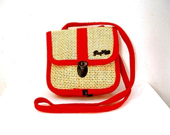 Vintage 1970s Small Shoulder Cross Body Bag Papillon Paris Woven Straw Red Trim Purse
