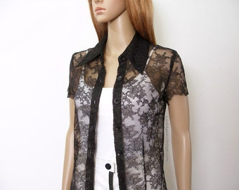 Vintage 1970s Black Lace Blouse Sheer Button Front Shirt Top / Extra Small to Small