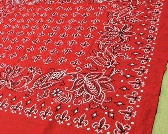 1950's Elephant Trunk Up red Bandana 20x22.5 Fast Color Fleure de Lis patterned large flowers all Cotton #42