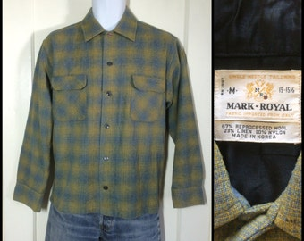 Vintage 1960's Blue Yellow Shadow Plaid Wool board Shirt size Medium Rockabilly