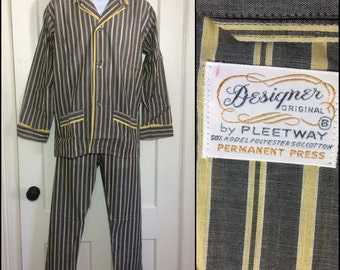 1960's Deadstock striped Pajamas set Gray White yellow piping size B nos Designer Originals by Pleetway permanent press