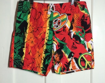 Vintage 1980's Royal Pacific Club red yellow green Peace Jamaica cotton Surf Board Beach Shorts Swim Trunks size L Reggae