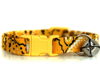 Yellow Bandana Cat Collar, with yellow breakaway buckle