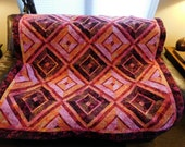 Bold Crimson Pink Peach Batik Quilted Couch Throw Tablecloth Bed Topper Hand Made Geometric Patchwork