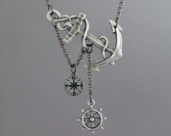 Lost at Sea Necklace, Silver Anchor Necklace, Ship Wheel Necklace, Wanderlust Necklace, Compass Necklace, Navigation Necklace, Ocean, Sea