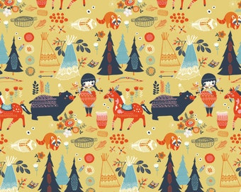 Organic Cotton Fabric - Birch Wildland Poplin - Village Feast