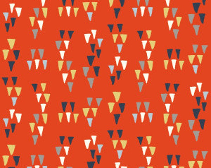Organic Cotton Fabric - Birch Wildland Poplin - Arrowhead Tomato