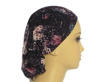 Hair Snood Abstract Black Navy SteelBlue Rose Turban, Volumizer Chemo Headwear, Cancer Patient Hat, Ex Length Hair Covering Tichel
