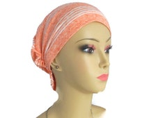 Hair Snood Turban Chemo Headwear | Peach Jersey Knit Cancer Patient Hat | Hair Covering | Tichel & Mitpachat Head Wrap | Beach Head Wear