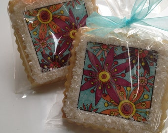 Passionate Colorist shortbread cookie favors custom cookies