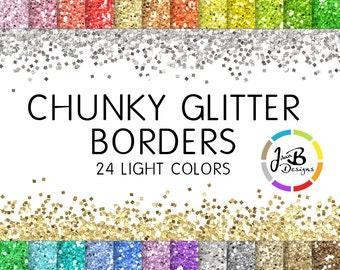 Chunky Glitter Borders Clip Art: Glitter Clip Art, Glitter Border Clip Art, Clipart Digital Border, Glitter Overlay