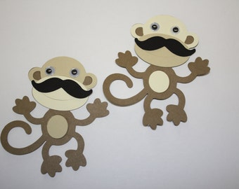 Set of 6 - Monkey with Moustache Party Decor and Scrapbooking Embellishments