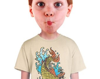 japanese koi shirt great fish print for boys hip tokyo japan cool asian fish t-shirt for kids fun tee for fisherman and child s m l xl