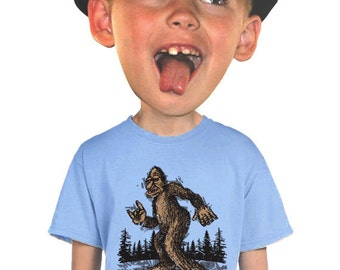 sasquatch shirt skater bigfoot t-shirt fantasy myths monsters illutrsted funny bigfoot t-shirt for for edgy kids skateboarders bigfoot fans