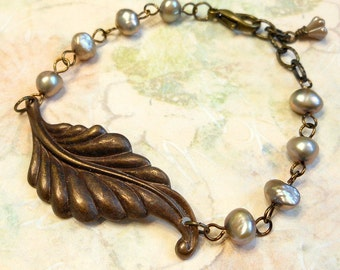 Vintage Brass Leaf and Freshwater Pearl Bracelet,Leaf Bracelet,Vintaj Jewelry,Pearl Bracelet