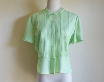 Vintage 60s Sheer Blouse, Green Blouse, Rhinestone Button Down Blouse, Short Sleeve Top, Pleated Blouse with Peter Pan Collar, AS IS Med Lrg
