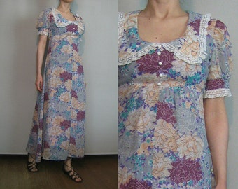 70s DOLLY EMPIRE WAIST vtg Puff Puffed Sleeve Lace Trim Maxi Turquoise Violet Orange Pink Pewter Cotton Floral Dress xs Small s/m 1970s