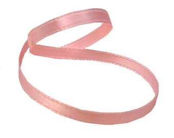 "1/4"" Primrose Pink Satin Ribbon, Single Face Satin Ribbon, 1960's Vintage Sewing Millinery Supply"